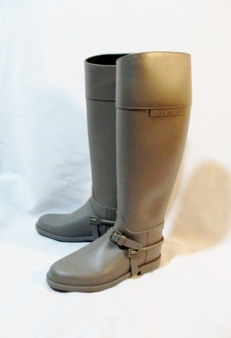 NEW GIVENCHY RUBBER RIDING RAIN BOOT Wellies 36 6 GRAY GREY Wellington Womens