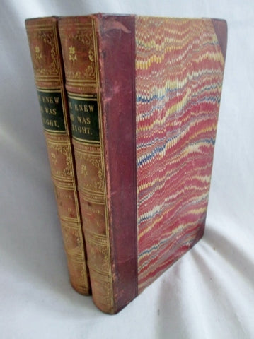 Antique 2 Vol Set HE KNEW HE WAS RIGHT Trollope Marcus Stone BOOK LEATHER BROWN