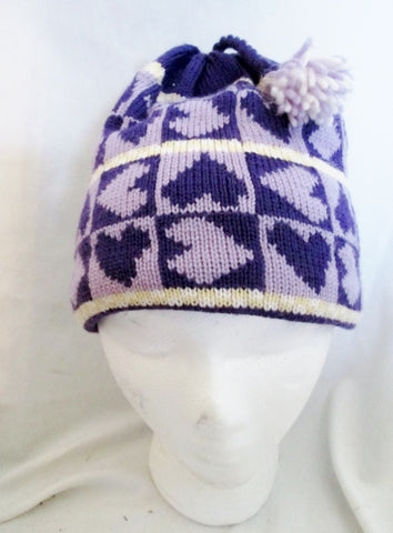 NEW Vintage Stock TURTLE FUR Beanie Hat Knit Cap Ski Snow Winter PURPLE HEART OS
