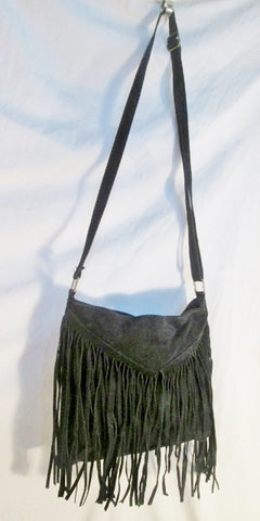 Hippie suede FRINGE leather hobo crossbody shoulder western bag BLACK cowboy