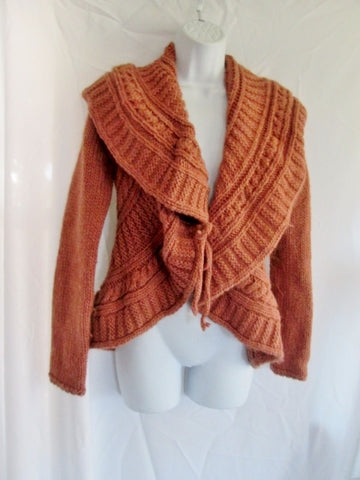 Womens ELSAMANDA Ruffle Jacket Coat Cardigan Sweater ANTHROPOLOGIE S PINK RED