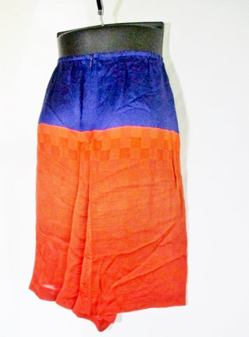 NEW DRIES VAN NOTEN FRANCE Silk Checked Skirt 38 / 6 PURPLE ORANGE
