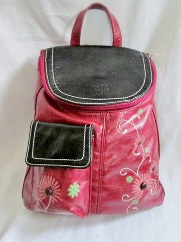 ESPE BACKPACK Shoulder Rucksack Travel Flap BAG RED Vegan FLORAL Sling