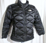 Youth Girls THE NORTH FACE 550 FULL ZIP DOWN JACKET Coat Puffer BLACK 10/12 M