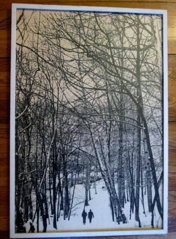 Vintage DAVID J. LEPORATA SNOW WINTER FOREST COUPLE WALK Framed Print ART