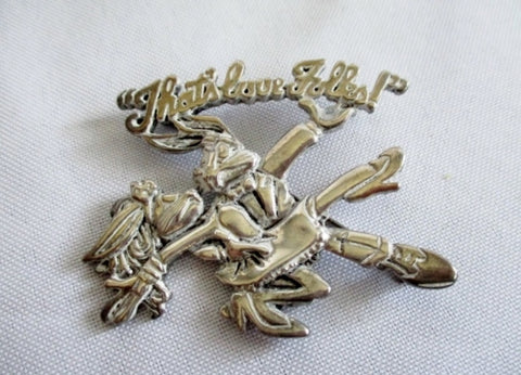 WARNER BROS. BUGS BUNNY RABBIT BROOCH PIN Silver That's All Folks