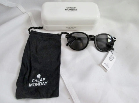 "NEW NWT CHEAP MONDAY STOCKHOLM ""CIRCLE"" Sunglasses BLACK + Case UV400 Dustbag"