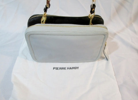 NEW PIERRE HARDY NAPPA Leather Clutch Purse Zip Bag BLACK LIGHT BLUE NWT