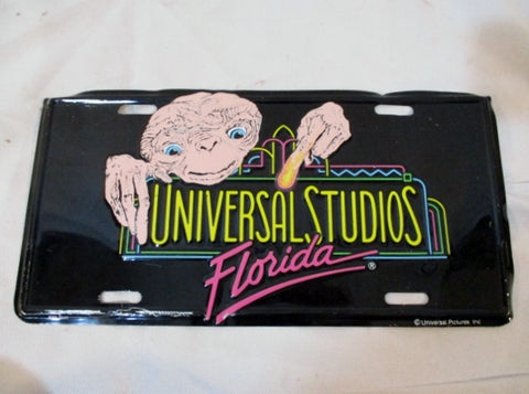 Vintage 1980s E.T. UNIVERSAL STUDIOS FLORIDA License Plate Movie Cinema Spielberg