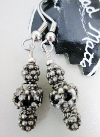 BRAD Bead Ethnic Pierced EARRING Jewelry Silver Dangle Tribal Hippie Boho
