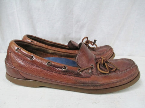 Womens SPERRY TOP SIDER Eye Leather Boat Shoe 8.5 Dock BROWN Preppie