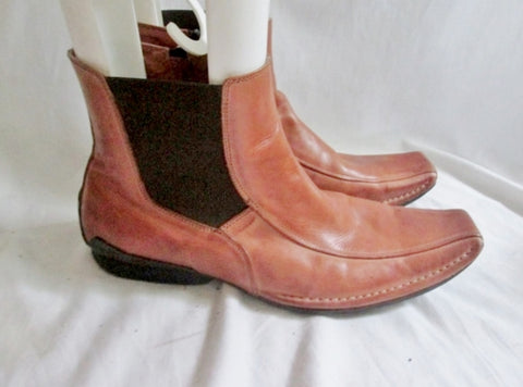 EUC Mens STEVE MADDEN DAGGAR Leather ANKLE BOOTS Shoes 11 BROWN CARAMEL