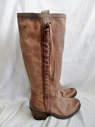 Womens NINE WEST VINTAGE AMERICA Fishtail LEATHER Moto BOOT BROWN 9.5 Knee High Rocker