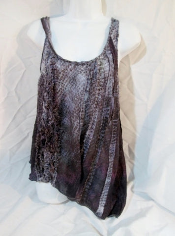 FREE PEOPLE ANTHROPOLOGIE Ruffle Tank Top Shirt PURPLE LEOPARD XS