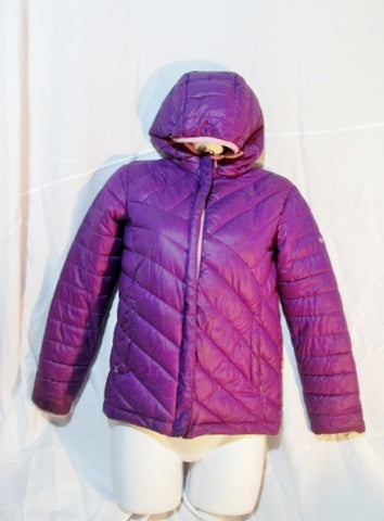Youth Kids Girls COLUMBIA Puffer Jacket Coat Hood Down PURPLE M Childrens