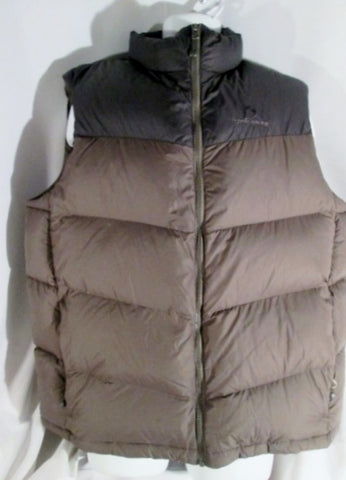 Mens EDDIE BAUER DOWN EB700 Puffer Vest Sleeveless Coat Jacket BROWN XL Winter Outdoor