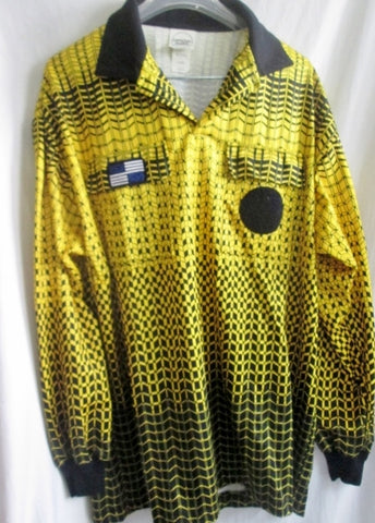 Mens NISOA Official Sports Long Sleeve Yellow Soccer Referee Jersey Shirt Patch L Top