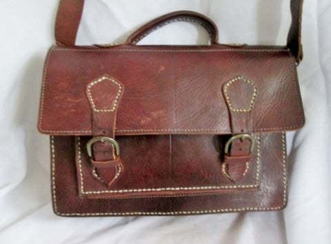 HANDMADE All Leather Flap Shoulder Bag Crossbody Briefcase Attache BROWN Stitch