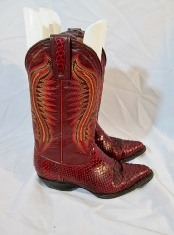 Womens DOS DE ORO PYTHON Leather Western Cowboy Snakeskin BOOT 6 RED BROWN
