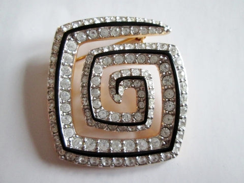 Retro SQUARE RHINESTONE MAZE ETERNITY BROOCH PIN GOLD BLACK Enamel