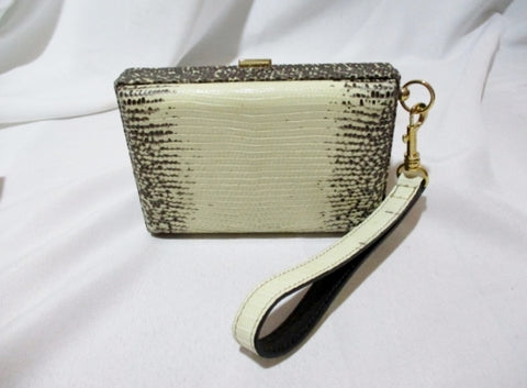 NWT NEW CELINE Minaudiere NATURAL LIZARD Leather Wristlet Bag Box Purse
