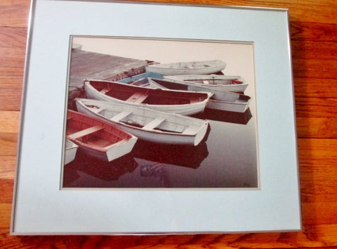 "28X24"" Framed Original ALLEN AVIS ROWBOATS PHOTO Photography Wall ART Nautical Maritime"