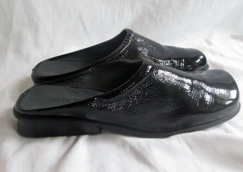 Womens DAVID TATE Patent Leather Clogs Shoes Slip-On Mules BLACK 11 Comfort