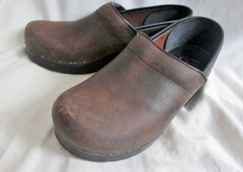 Womens DANSKO Leather Clogs Shoes Slip-On 38 / 7.5 ESPRESSO BROWN Boho Hipster