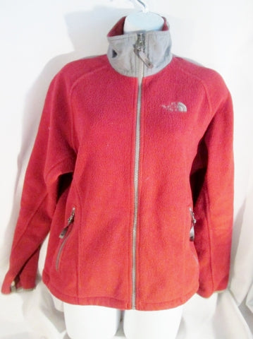 Womens THE NORTH FACE FULL ZIP FLEECE JACKET Coat SP POLARTEC RED Burgundy Gray