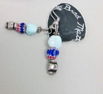 BRAD African Chevron Turquoise Bead Ethnic Pierced EARRING Jewelry Silver BLUE