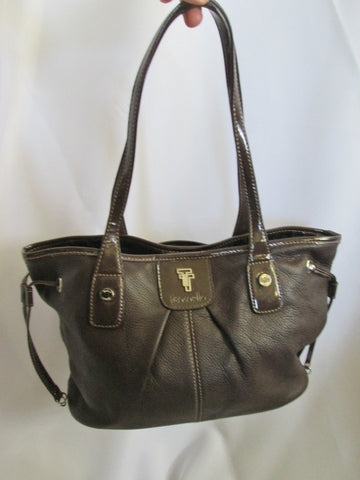 TIGNANELLO Leather Handbag Satchel Tote Shoulder Hobo Bag BROWN Ruched Pleated