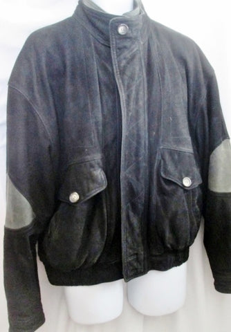 MENS THE TERRITORY AHEAD SUEDE Leather jacket coat bomber BLACK M Striped Lining