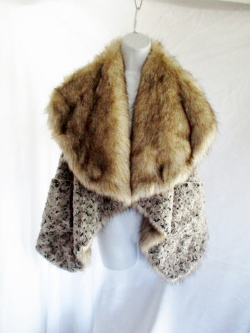REVERSIBLE Faux COYOTE FUR Vest Jacket Coat BROWN Vegan S Sleeveless Pocket Womens