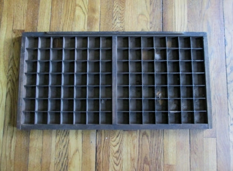 "Vintage 32"" Wood Printers Typeset Tray Letterpress Drawer Shadow Box Curio Cabinet"