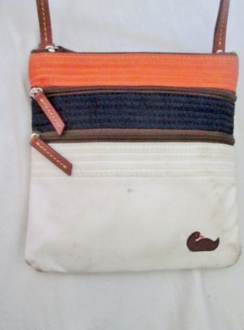 DOONEY & BOURKE Mini Shoulder Bag Crossbody Swingpack Purse Stripe WHITE ORANGE BLACK