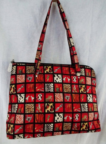 NICOLE MILLER handbag shoulder bag silk patchwork RED ANIMAL DOG COW LEOPARD Tote