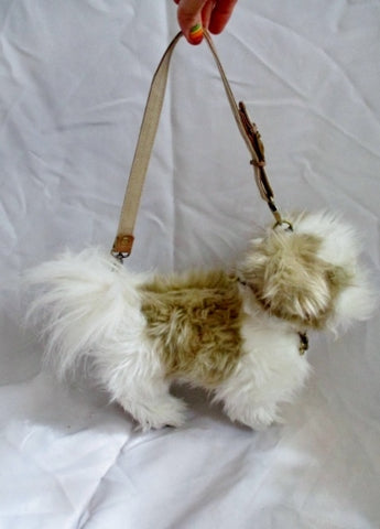 LOVE ON A LEASH PUPPY DOG Shoulder Bag Plush Purse White BROWN
