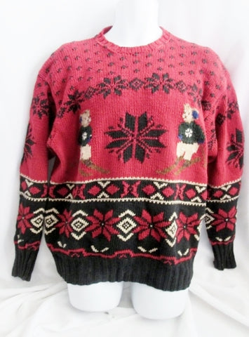 Mens RALPH LAUREN Knit Cotton Linen Ski Sweater Holiday TEDDY BEAR RED L Signature