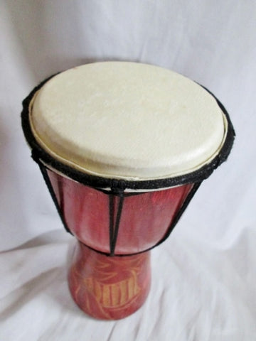 "Handmade 10"" Wood Carved BIRD DJEMBE Skin DRUM Circle PERCUSSION MUSIC Africa"