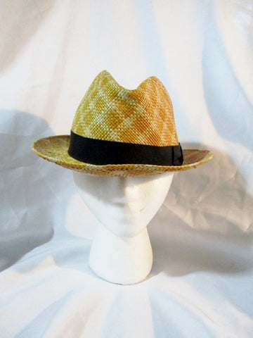 GENUINE PANAMA ENGLAND Natural STRAW Sun Hat Brim 7 GOLD Fedora Woven
