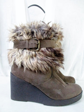 Womens XXI Sherpa Faux Fur MUKLUK Wedge High Heel Boot Shoe BROWN 8 VEGAN