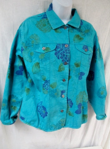 Womens CHICO'S DENIM JEAN FLORAL jacket Hipster Moto Coat BLUE M L AQUA