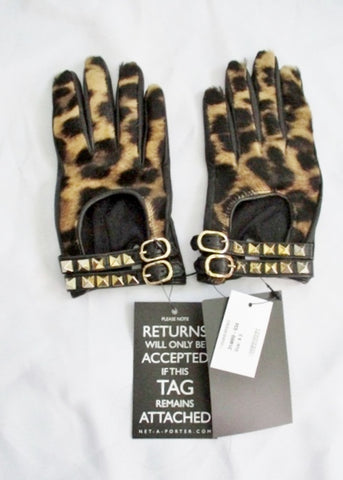 NEW NWT VALENTINO GARAVANI Gloves BLACK GOLD SPIKE 6.5 Leopard ITALY SILK