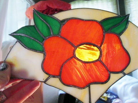 "11"" Handmade Stained Glass Window Sun Catcher Art Wall ORANGE FLOWER FLORAL"