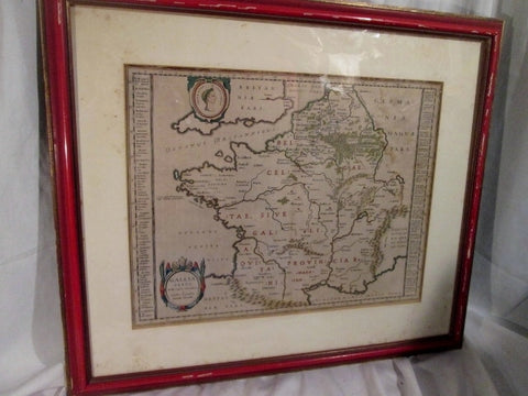 Vintage Antique GALLIA VETVS LATIN EUROPE Framed MAP Atlas Cartography 24X28""