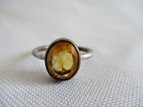 925 STERLING SILVER SMOKY TOPAZ Stone Band Ring Sz 5.5 BROWN Jewelry