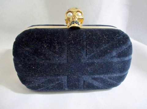 NEW NWT ALEXANDER MCQUEEN SKULL BRITTANIA Box Clutch Bag BLUE NAVY