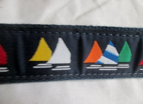 Mens PRESTON LEATHER PRODUCTS SAILBOAT Canvas Leather Belt USA 36 BLUE