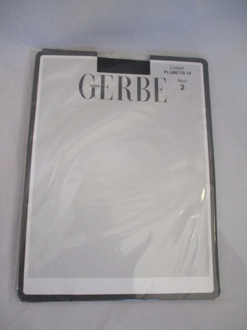NEW GERBE PARIS TIGHTS STOCKINGS Sz 2 BLACK Plumetis 10 Noir