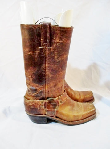 FRYE Leather MOTO HARNESS BOOTS 6.5 BROWN Riding Biker Engineer Womens